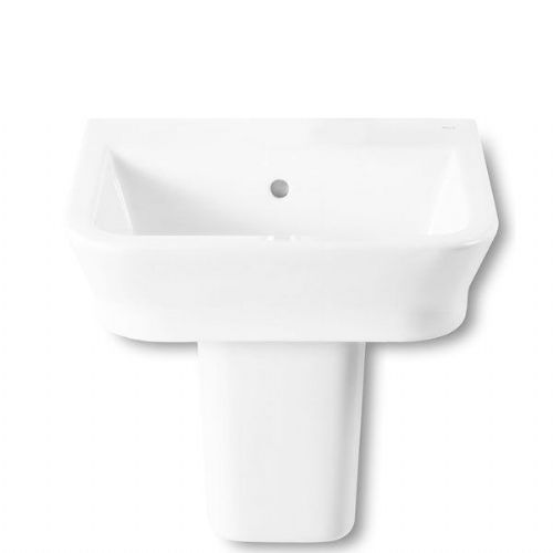 Roca The Gap Square Basin With Semi Pedestal - 550mm - 0 Tap Hole - White